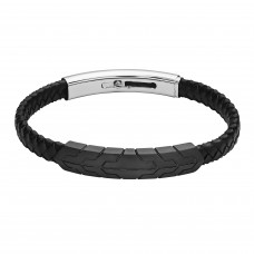 Jos Von Arx Gents Bracelet made of  Leather And Stainless Steel, FUB24