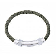 Jos Von Arx Gents Bracelet made of Olive Leather And Stainless Steel, INB04