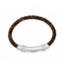 Jos Von Arx Gents Bracelet made of Leather And Stainless Steel, INB06