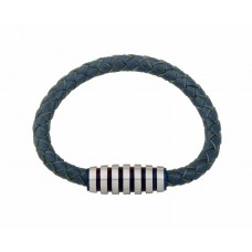 Jos Von Arx Gents Bracelet made of Blue Leather And Stainless Steel, INB09