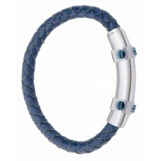 Jos Von Arx Gents Bracelet made of Blue Leather And Stainless Steel, INB22
