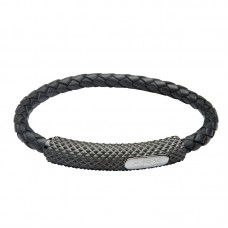 Jos Von Arx Gents Bracelet made of Black Leather And Stainless Steel, INB24