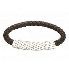 Jos Von Arx Gents Bracelet made of brown leather and stainless steel, INB36