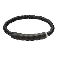 Jos Von Arx Gents Bracelet made of Black Leather and Stainless Steel black, INB42